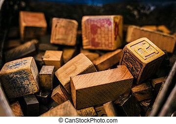 bois, lettres, cubes, vieux