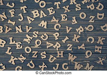 bois, lettres, fond