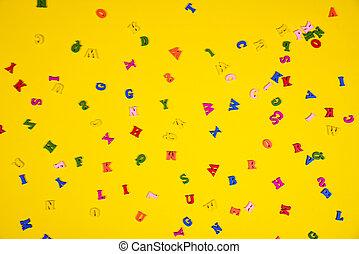 bois, lettres, fond, jaune, multi-coloré
