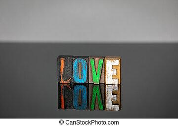 bois, lettres, mot, coloré, amour