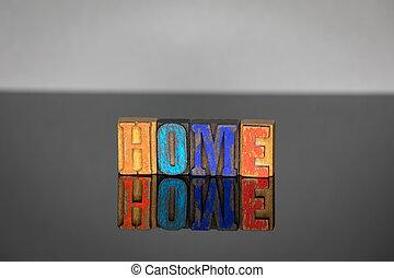bois, lettres, mot, coloré, maison