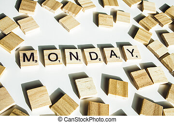bois, lettres, orthographe, les, mot, lundi, blanc, arrière-plan.