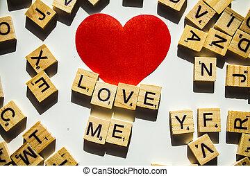 bois, lettres, orthographe, les, mot, m'aimer, blanc, fond, à, rouges, heart.