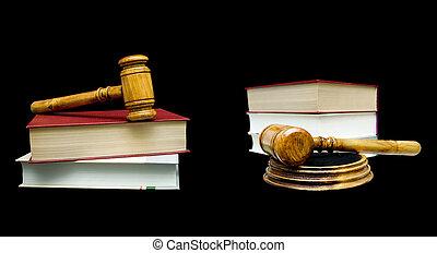 bois, livre, arrière-plan noir, juge, marteau
