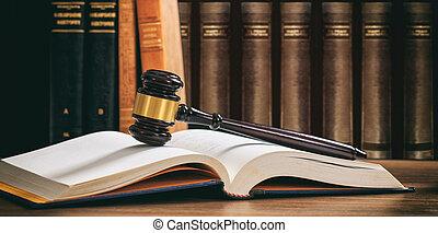 bois, livre, bureau, juge, livres, fond, marteau, droit & loi, ouvert