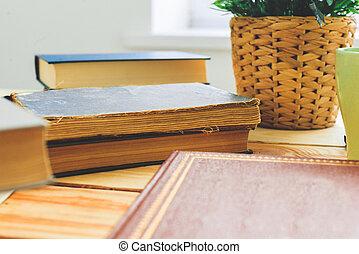 bois, livres, bureau