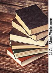bois, livres, table.