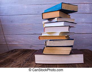 bois, livres, tas, fond