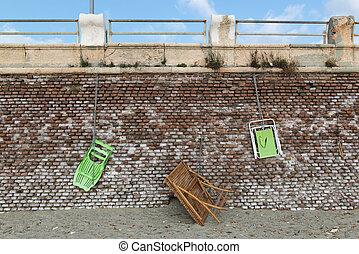 bois, loungers, mur, table, pendre, brique, plage, rouges