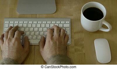 bois, lumière, ordinateur portable, bureau, individu, habitudes, dactylographie, whis