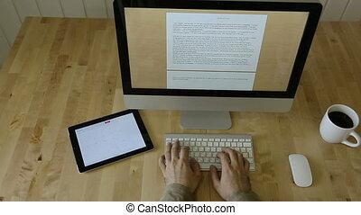bois, lumière, ordinateur portable, bureau, part2., mouvement, dactylographie