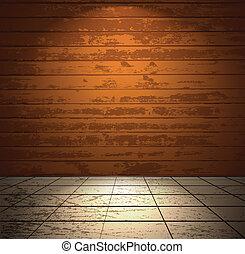 bois, lumière, salle, plancher