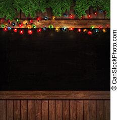 bois, lumières, noël, tableau noir