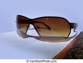 bois, lunettes soleil, planche