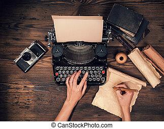 bois, machine écrire, planches, retro