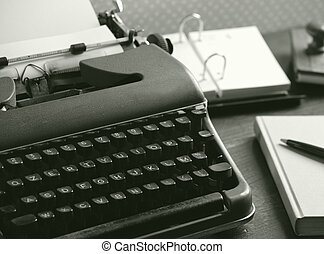 bois, machine écrire, vieux, bureau