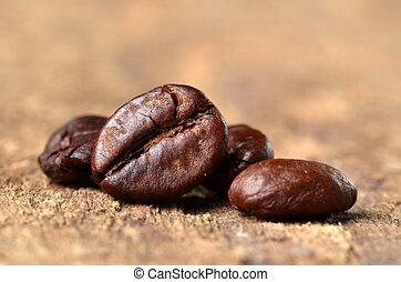 bois, macro, grains café, table
