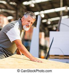 bois, magasin, construction, bricolage, choisir, achat, homme