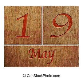 bois, mai, calendrier, 19.