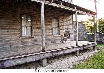 bois, maison, balancer, vieux, chaise