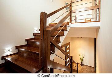 bois, maison, escalier