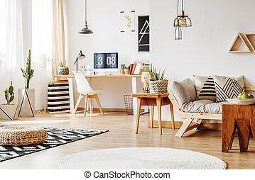 bois, maison, espace de travail, meubles