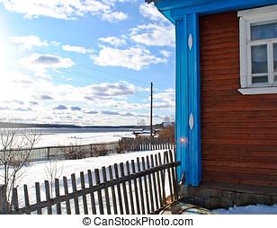 bois, maison, hiver