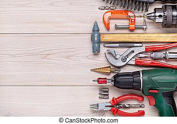 bois, maison, lumière, mensonge, outils, ensemble, hommes, rang, divers, arrière-plan., style.