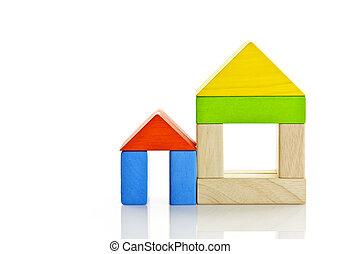 bois, maisons, blocs