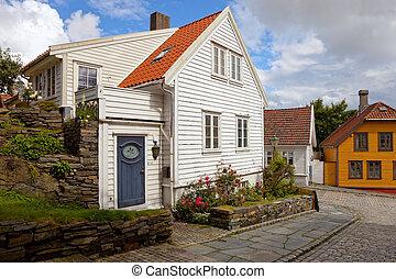 bois, maisons, dans, norvège