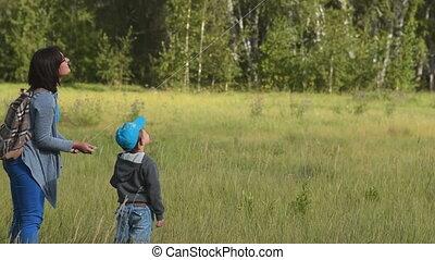 bois, maman, cerf-volant vol, enfant