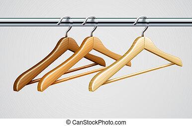 bois, manteau, tube, garde-robe, cintres, vêtements