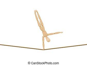 bois, marcheur, corde raide, handstand, équilibre, mannequin