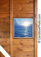 bois, marine, fenêtre, salle, vue