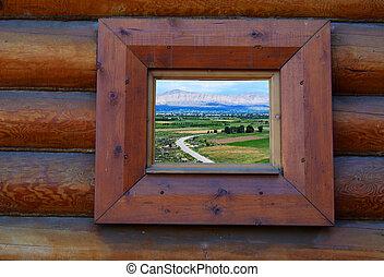 bois, marine, fenêtre, vu