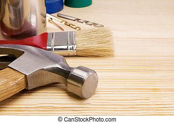 bois, marteau, instruments, foret, autre, pinceau
