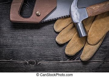 bois, marteau, main, sécurité, planche, griffe, gants, scie