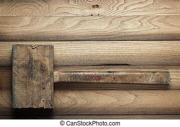 bois, marteau, sur, les, brun, table