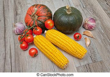 bois, mensonge, légumes, table.