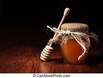 bois, miel, pot, table., crosse