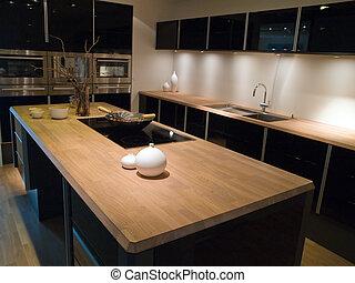 bois, moderne, conception, branché, noir, cuisine