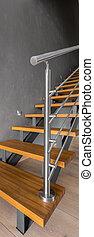 bois, moderne, escalier