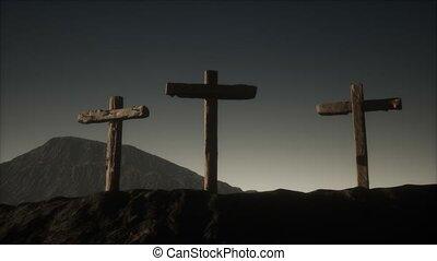 bois, montagne, crucifix, croix