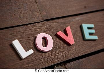 bois, mot, amour, plancher