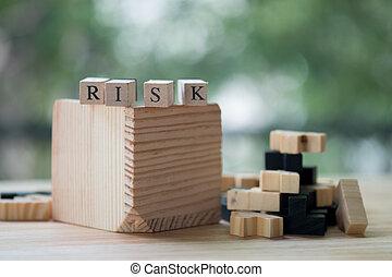 bois, mot, blocs, risque