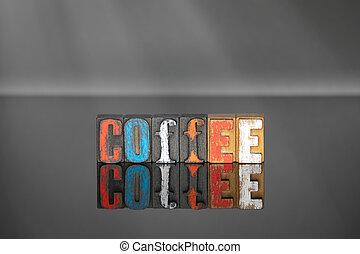 bois, mot, café, lettres, coloré