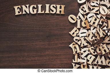 bois, mot, fait, lettres, anglaise