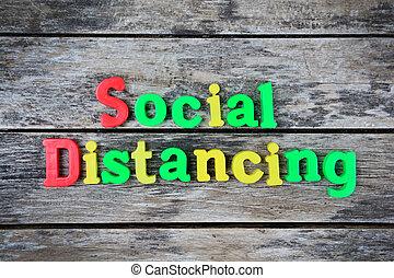 bois, mots, table, distancing, social