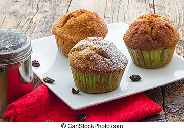 bois, muffins, table