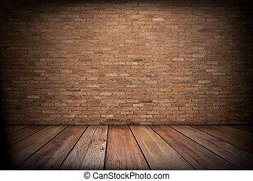 bois, mur rouge brique, fond, plancher, intérieur, salle